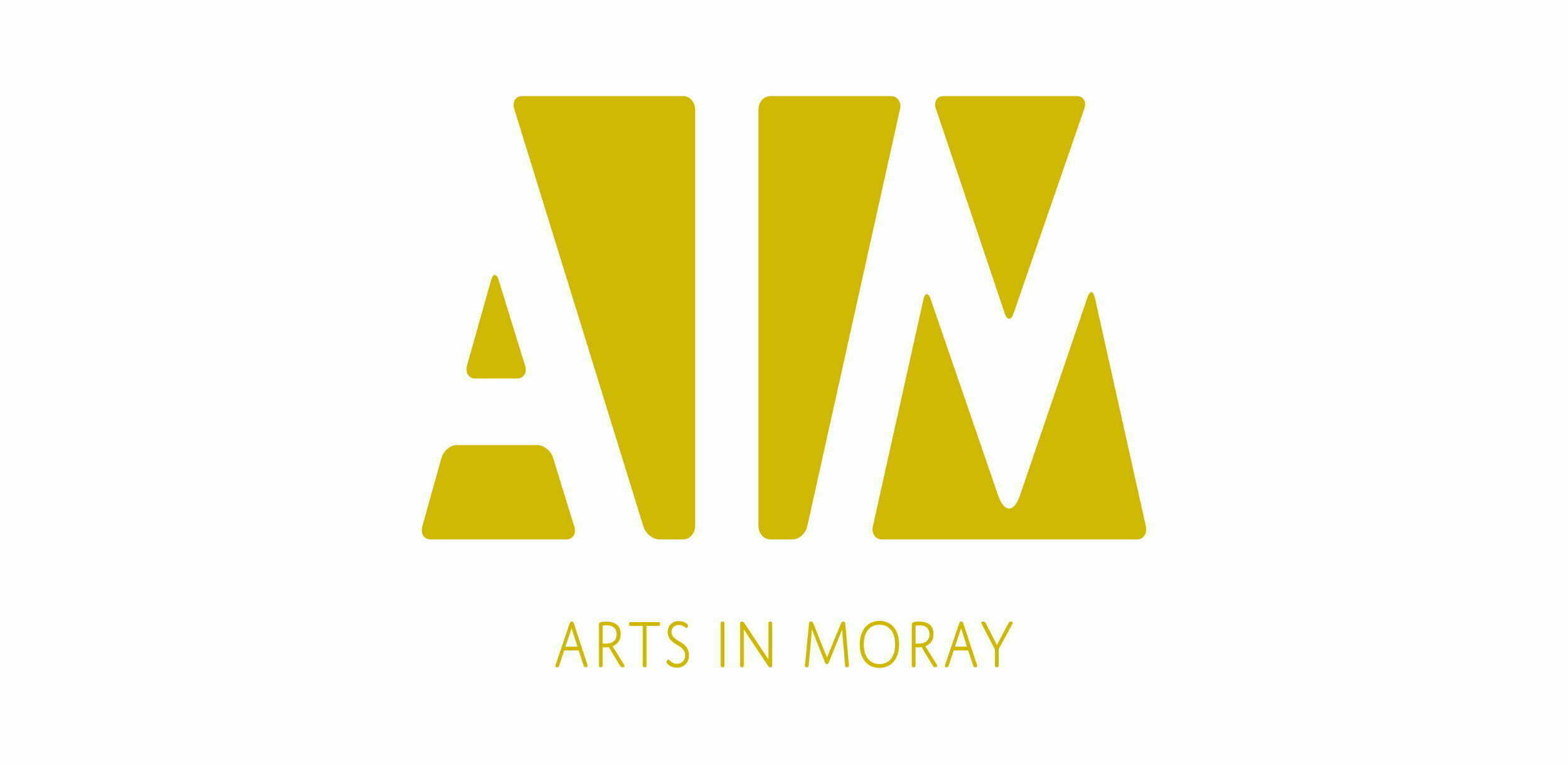 Arts in Moray (AIM) logo in yellow on a white background