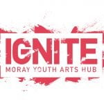 Ignite Moray Youth Arts Hub logo – red text in a red paint splash effect on a white background