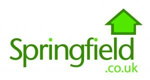 Logo for Springfield Properties. Green text on white background. Text reads: Springfield.co.uk.